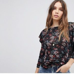 Brand new Free People Flared Sleeve Lace Blouse
